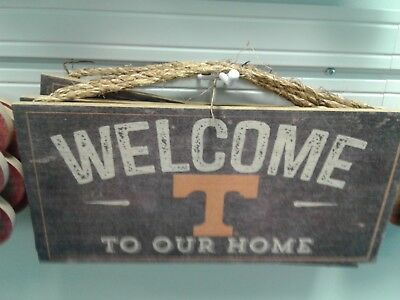 Fan Creations NCAA Tennessee Volunteers 12 x 6 Distressed Welcome to Our Home Wood Sign