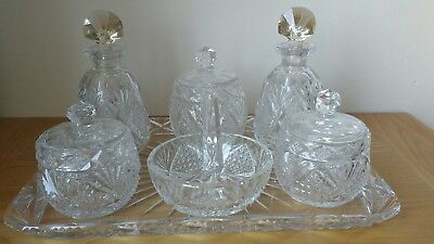 STUNNING ART DECO 7 Piece Hand Cut Crystal Dressing Table Set ...