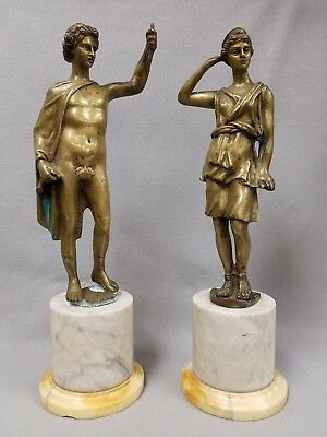 Pair of Antique 16th or 17th Century Renaissance Bronze Sculptures Man & Woman