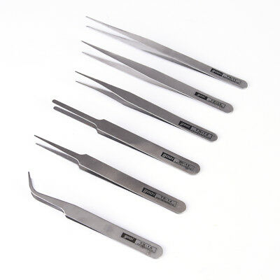 6 pcs All Purpose Precision Tweezer Set Stainless Steel Anti Static Tool Kit PLZ