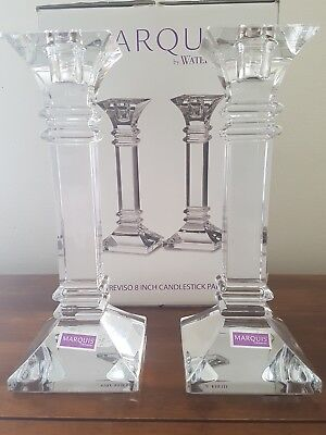 MARQUIS By WATERFORD Treviso 8 Inch Lead Crystal Candlestick Pair