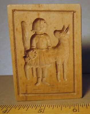 Springerle Cookie Press Mold wood vintage big dog lady girl old carved neat