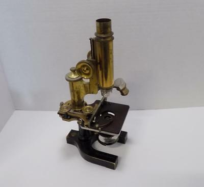 Bausch & Lomb 57161 Vintage Brass 180mm Microscope With Wooden Case & Extras