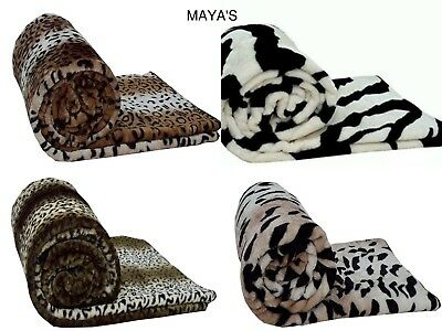 Throws Faux Fur Animal Print Warm Cozy Soft Blankets Sofa Bed Single Double King