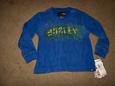 NEW HURLEY royal blue crew neck thermal long sleeve shirt boys toddler sz 2T 2 T