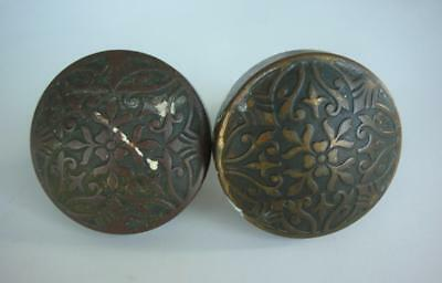 2 Antique Round Flowered Solid Brass Door Knobs Hardware