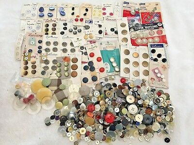 Huge Estate Lot of Vintage Sewing Buttons 1000+ Lucite Plastic Metal