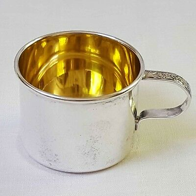 Baby cup by WATSON repousse handle D1 in sterling silver gold wash NO mono