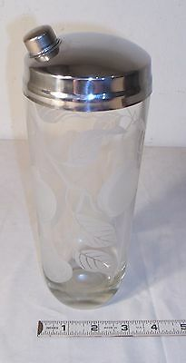APPLE TREE BRANCHES ETCHED GLASS COCKTAIL SHAKER 1960s