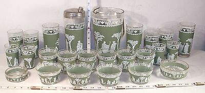 GREEK GODS 24 PIECE LARGE MATCHED COCKTAIL SET WITH SHAKER 1960s
