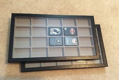 "Box of (2) 8 x 14-1/2 x 1"" Display Cases with Dividers for Lighters (20 squares)"