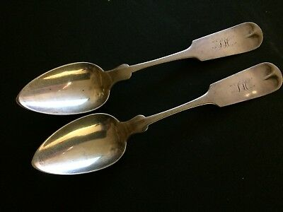 J. & W. Moir Early  American Coin Silver pair of Spoons New York NY
