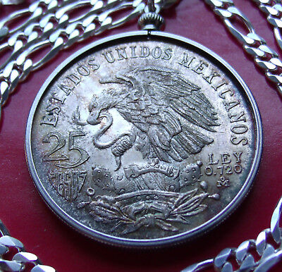 "1968 Mexican Silver Coin Pendant Necklace 20"" 5.5mm Italy silver 3 2 link chain"