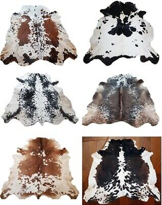 New Large 100% Cow Hide Leather Rugs Tricolor Hair-On Leather Carpet 18-20 Sq Ft