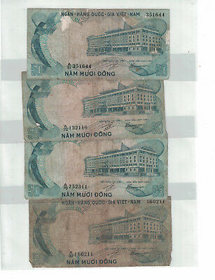 "VIETNAM-SOUTH Lot of 4 x 50 DONG 1972 PICK# 30a Prefix "" A-51,70,72 "" (#971)"