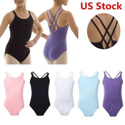 Kids Girl's Double Strap Dancewear Cotton Ballet Gymnastic Camisole Leotard