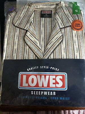 Retro Men's Flannelette  Pyjamas. Corded waist Size Small New in Pack  Perfect