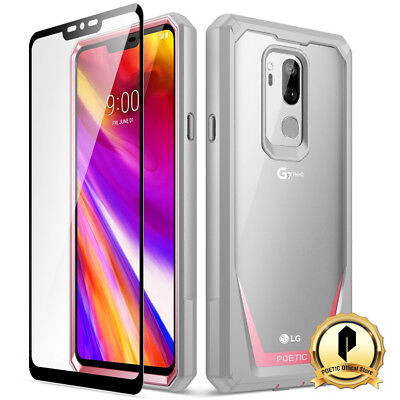 Poetic LG G7 ThinQ [Guardian] Rugged Clear Bumper Case With Tempered Glass Pink