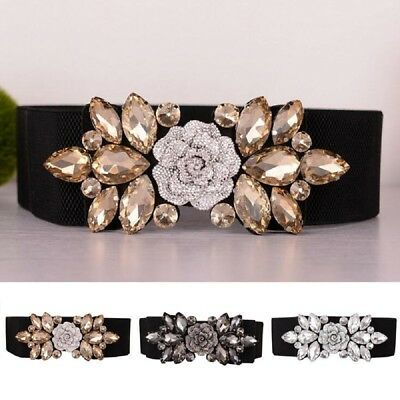 Women's Wide Rhinestone Elastic Buckle Waist Belt Stretch Adjustable Waistband