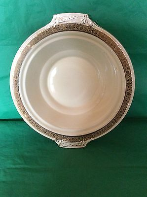 """Burleigh England Zenith 769495 Handled Serving Bowl Gold Lace Flowers Band 10"""""""