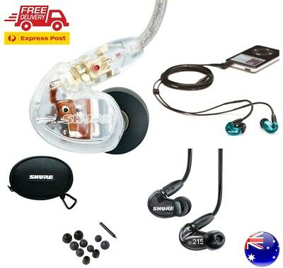Shure SE215 Sound Isolating In-Ear Monitoring Earphone Black Blue Clear AU STOCK