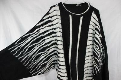 Vintage 80s OVERSIZED Fuzy Knit NEW WAVE Electro BATWING ELECTRIC BOLTS JUMPER L