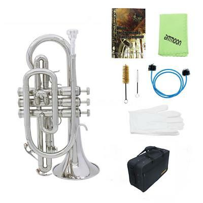 ammoon Silver Bb Cornet Brass Music Instrument +Case+Care Kits For Student N6X0
