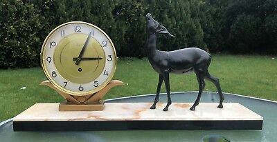 Art Deco Silvoz Paris Marble Based Mantle Clock With Spelter Deer