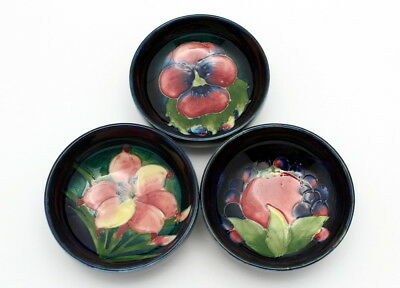 Three Vintage Moorcroft Art Pottery Miniature Bowls