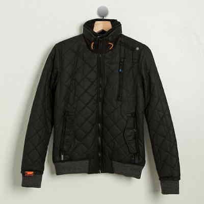 Superdry Black Moody Quilted Bomber Jacket Mens S Small $216 retail NWT