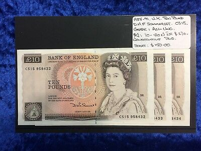 1988-91 UK Ten Pound x 3 Consecutive Notes Au-Unc CS15