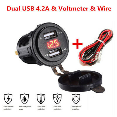 Waterproof 4.2A Dual USB Charger Socket & Red Voltmeter for 12-24V Car SUV Truck
