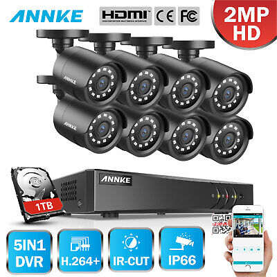 ANNKE 1080P HDMI 5in1 8CH DVR 2000TVL Surveillance HD Security Camera System 1TB