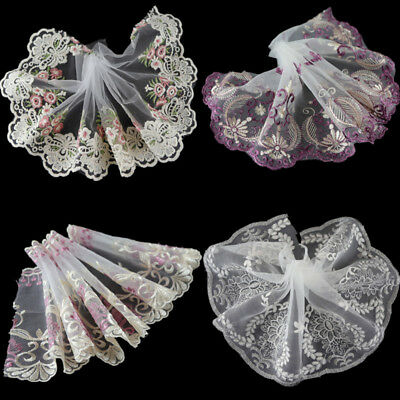 2 Yards Sewing Floral Tulle Lace Trim Fabric Embroidered Lace Ribbon DIY Craft