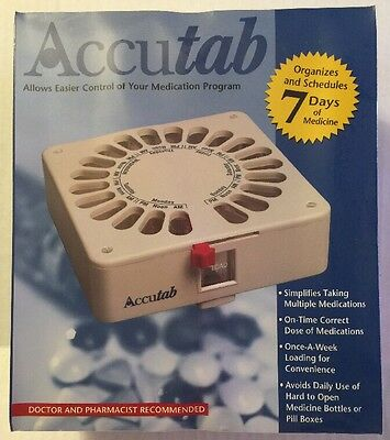 Accutab 7 Day Large Capacity Pill Box Dispenser Brand New