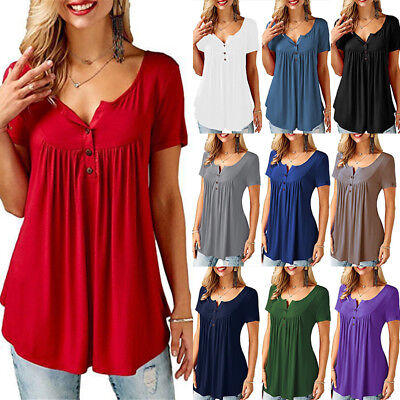 UK Plus Size Women Blouse Pleated Button Ladies Summer T Shirt Loose Casual Tops