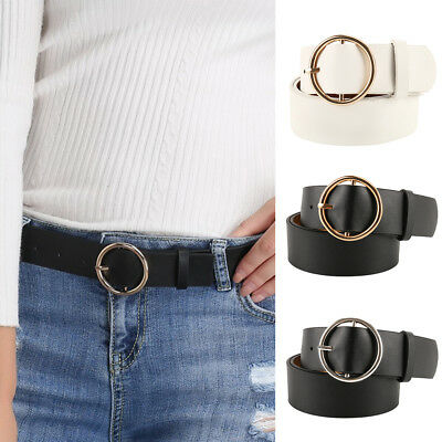 NEW Women's Thick Wide Bonded Leather Belt Metal Buckle Waistband Adjustable US