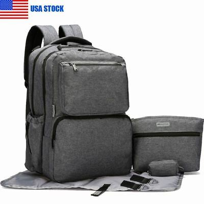 US Large Mummy Backpack Changing Bag Multifunctional Baby Newborn Diaper Nappy