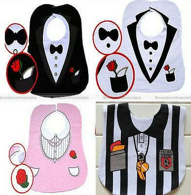 New Tuxedo with Bow Tie Prince Boy Princess Football Referee Feeding Baby Bibs