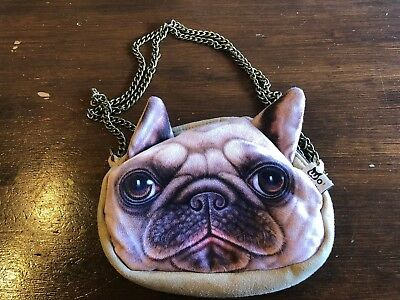 Dog Pug bag / purse zip with chain strap BN