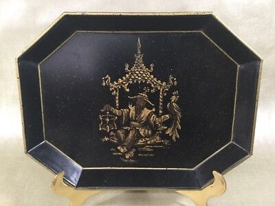 Vintage Chinoiserie ? Toleware Black & Gold Decrotive Platter Asian Design