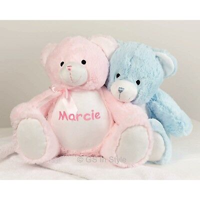 Personalised Plush Teddy New Baby Christening Embroidered Gift Soft Toy Newborn
