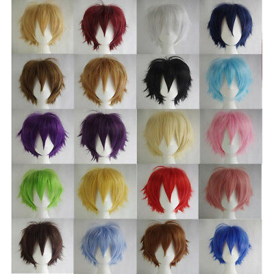 Mens Womens Short Straight Hairpiece Full Wig for Anime Party Cosplay Precious