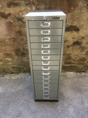 Bisley Vintage Retro Industrial Multi 15 Drawer Steel Filing Workshop Cabinet