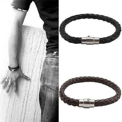 Mens Genuine Flat Leather Braided Wristband Bracelet Stainless Steel Clasp 6mm