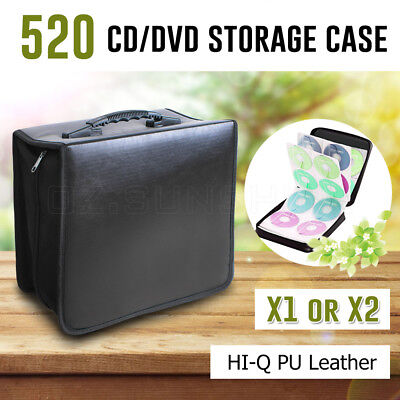 520 Disc CD DVD Storage Case Wallet Carry Bag Organizer Album Folder Black AU
