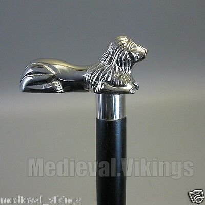 LIon Head Brass Metal Handle walking Cane Vintage Style victorian Wooden Stick