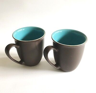 Denby Langley Duets Brown Blue Turquoise Mug Set of Two