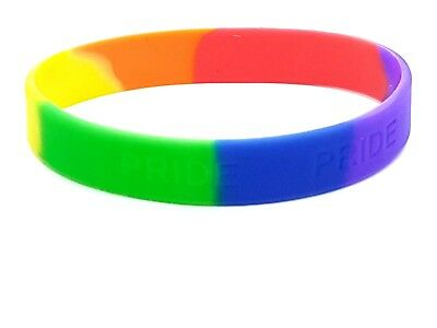 Rainbow Lgbt Pride Silicone Gay Lesbian Wristband Bracelet Pride UK Fair Price