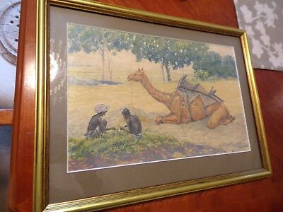 Antique Rajasthan Camel Indian Pointillism Style Watercolour Late 19Th Century